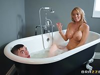 Two big titted cougars and one teenager have a threesome in the tub