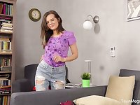Stripping cutie Lizi Vogue has prepared a dildo for good masturbation