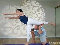 After yoga class Mandy Muse please her friend's dick on the floor