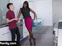 Slender ebony stepmom Ana Foxxx bangs white stepson right in the kitchen