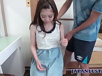 Lovely Asian teen with flat tits and puffy muff Shiho Tanizak gets facial