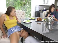 Bridgette B blowing friend's black dick during a threesome with Gia Derza
