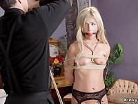 Gagged blond hair girl gets twat vibrated