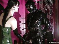 Black latex on Cheyenne de Muriel's body makes this dude hornier than ever