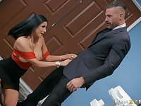 Massive tits Audrey Bitoni makes hard dick disappears in her pussy