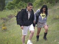 Vanessa Mae and Jennifer Love enjoy hardcore group fuck outside