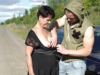 Short haired brunette mature granny Libuse sprayed with cum outdoors