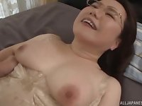 Chubby mature Japanese MILF gets her hairy pussy creampied