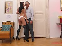 Slutty brunette teen nympho Tina Belle rides dick in leather boots