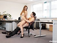 Blonde teen cutie Taylor Sands fucked on a work desk