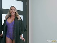 Bombshell blonde slut Cali Carter ass fucked in lingerie
