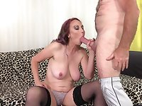 Pierced mature redhead Zoe Matthews gets cum on face from an old guy