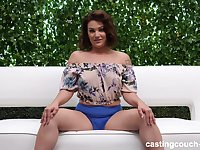 Chubby brunette babe Shyla takes a big dick on the casting couch