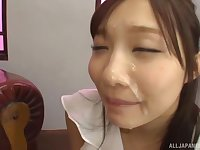 Cute Japanese teen babe Kichikawa Ren sprayed with cum in a dress