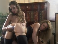 Lesbian kinky toy insertion with Isabella Sky and Mia Presley