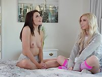 Lesbian teen babes Adria Rae and Kenzie Reeves anal toying in socks