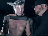 Short haired submissive babe Kitty Dorian tied up and tortured