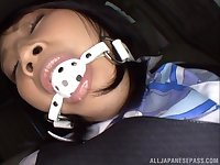 Japanese MILF wearing a business suit Saionji Reo ball gagged in a car