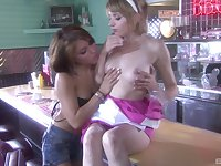 Lesbian pussy licking in the kitchen with Lexi Belle and Risi Simms