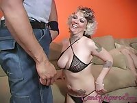 Cuckold watching Candy Monroe getting hard pounded by a black dude