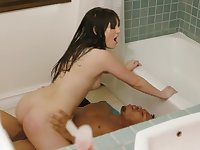 Interracial in the shower with a sweet young brunette