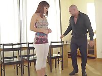 Teen does a striptease before a bald dude at her dancing lessons