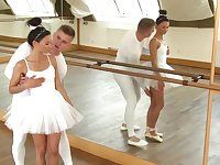 Two dancers practice sex during their training