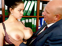Ginormous-titted assistant smashes her heinous chief