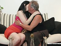 Lovely brunette Sheril Blossom blows older man in 69 position