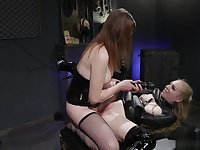Blonde sub deep throats shemales cock