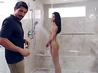 Sweet playful stepdaughter seduces her stepdad in the shower