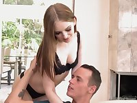 Svelte pale Maya Kendrick wears only black stockings while giving head