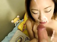 18yr old Asian teen getting a huge facial from big dick boyf