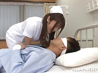 Nurse Shiori Kamisaki fucks her patient in the hospital wildly