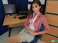 Slim office bitch Rose R decides to undress and to pose in her nylon stockings