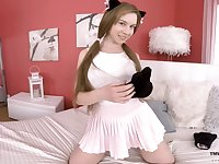 Pretty kitty Alice Klay is playing with juicy pussy in front of camera