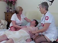 Two old nurses fuck one kinky dude and lick each others smelly cunts