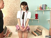 Lovely pigtailed gal Akina Sakura flashes her nicely shaved pussy to dudes