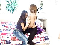 Two Russian teens Dulce and Malin playing with each other's pussies