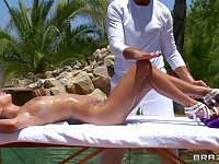 Hardcore outdoor fucking by the pool with brunette April O'Neil