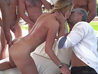 Blonde starlet fucked hard and covered in cum during hardcore gangbang