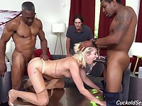 Cuckold watches Zoe Sparx get done hard and long by two black studs