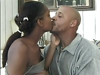 After kissing her black hubby this nympho gives a good BJ to his BBC