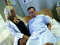 Blonde mature doctor Bridgette B pleasures her gifted patient