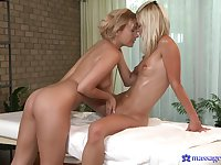 Superb oral scenes between a lesbian masseuse and a young babe