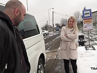 It's cold outside so dude offers a hot babe a ride home and some steamy fuck