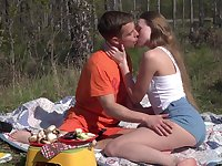 Romantic outdoor sex on a camping trip for beautiful Andrea Sixth