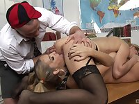 Bitches share dick in the classroom for a complete fetish play