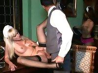 French Maid Service Lena Cova Threesome Sex