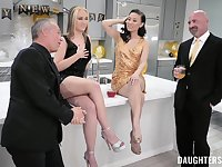 Horny men swap and share their whores in crazy foursome